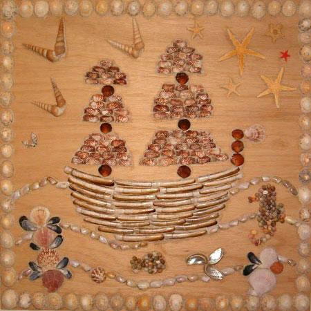 Piratenboot schelpen schilderij