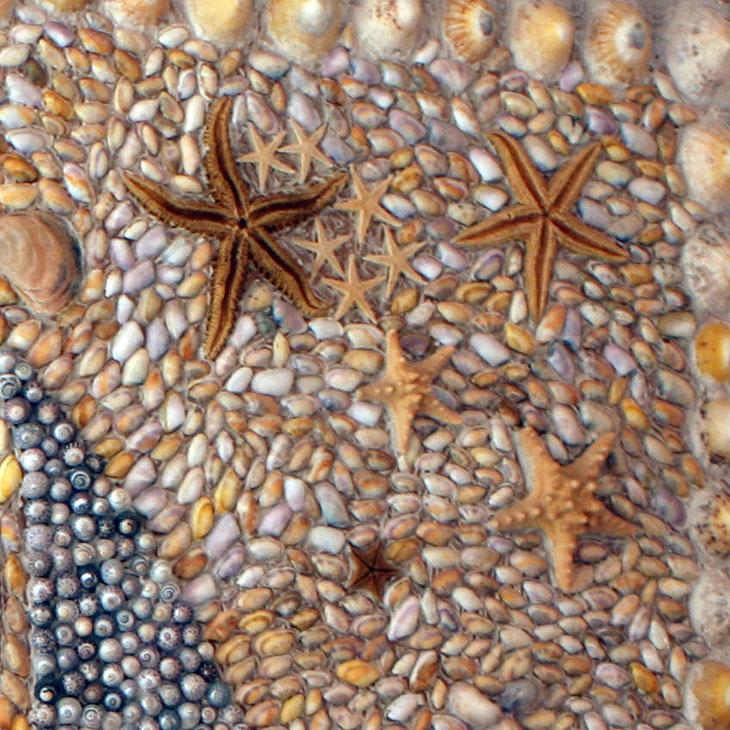Plezierboot schelpen schilderij
