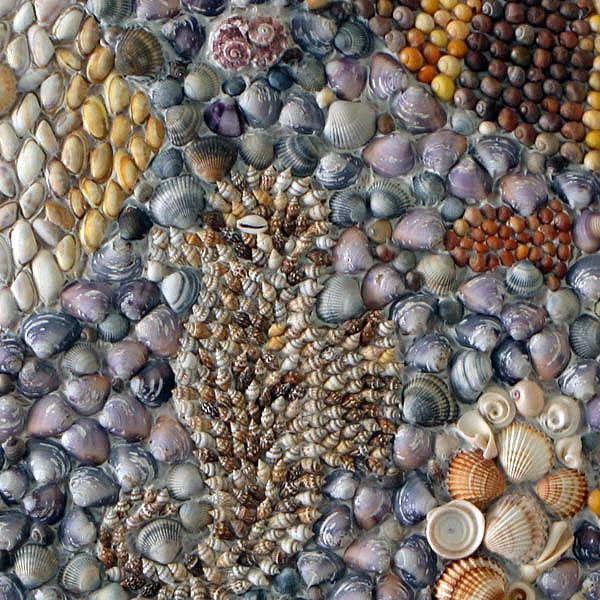 Mozaïek van vissen schelpenschilderij